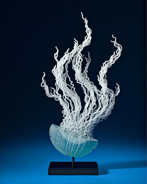 Medusa-Layered fluid Glass Sculptures by K William LeQuier