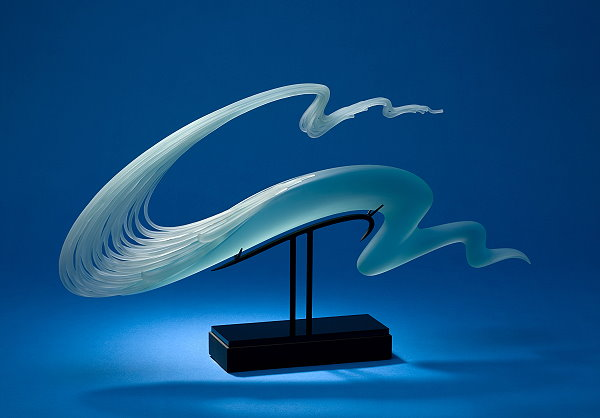 Curl-Layered fluid Glass Sculptures by K William LeQuier